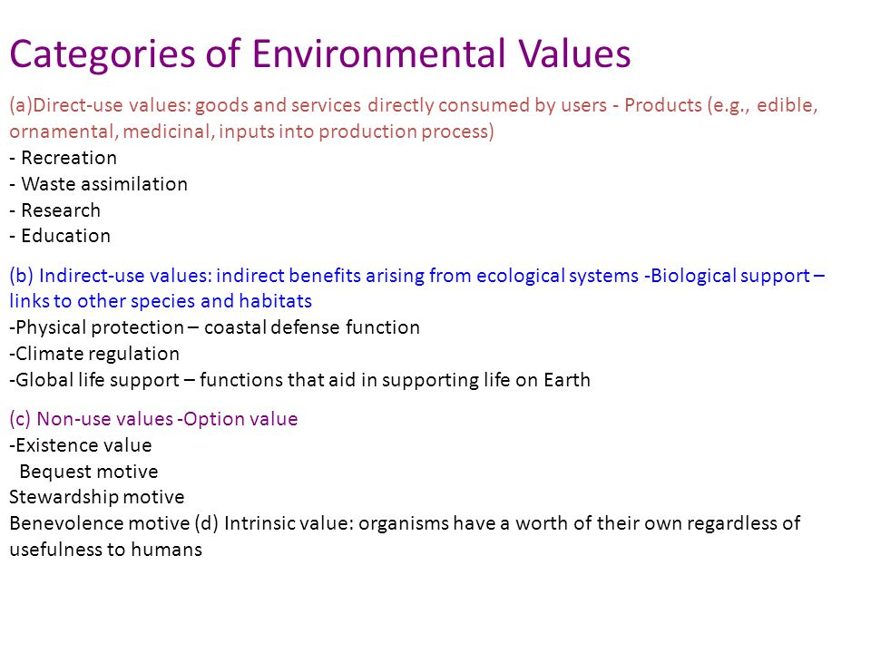 Categories of Environmental Values