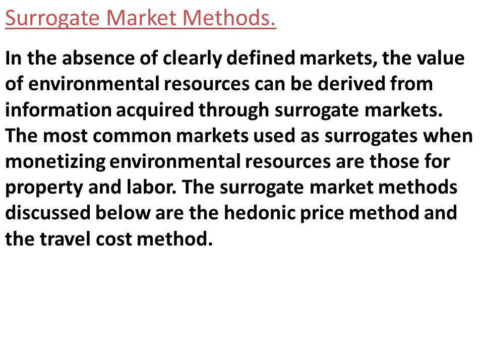 Surrogate Market Methods.