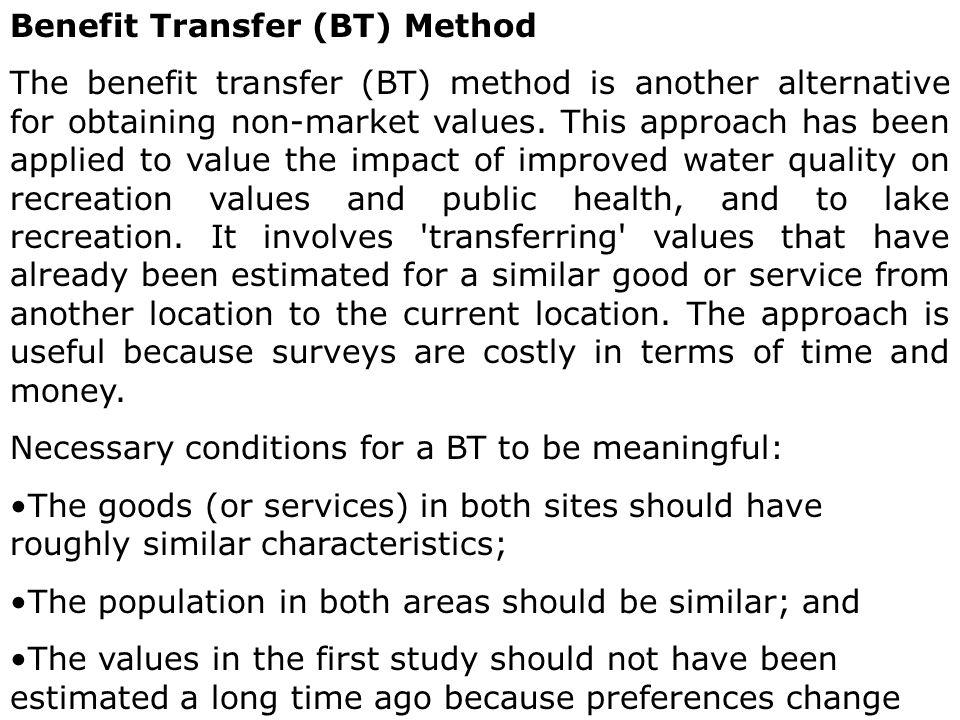 Benefit Transfer (BT) Method