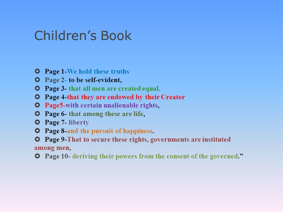 Children's Book Page 1-We hold these truths