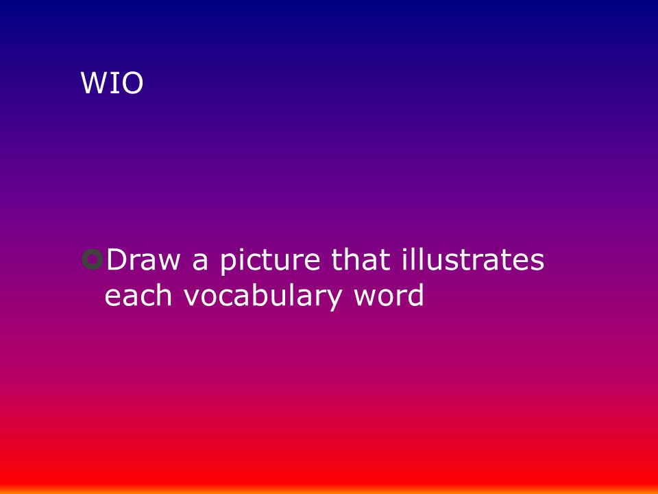 WIO Draw a picture that illustrates each vocabulary word