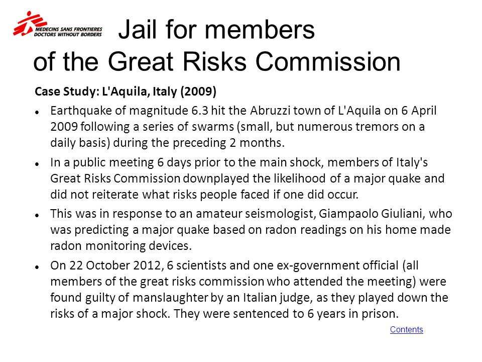 Jail for members of the Great Risks Commission