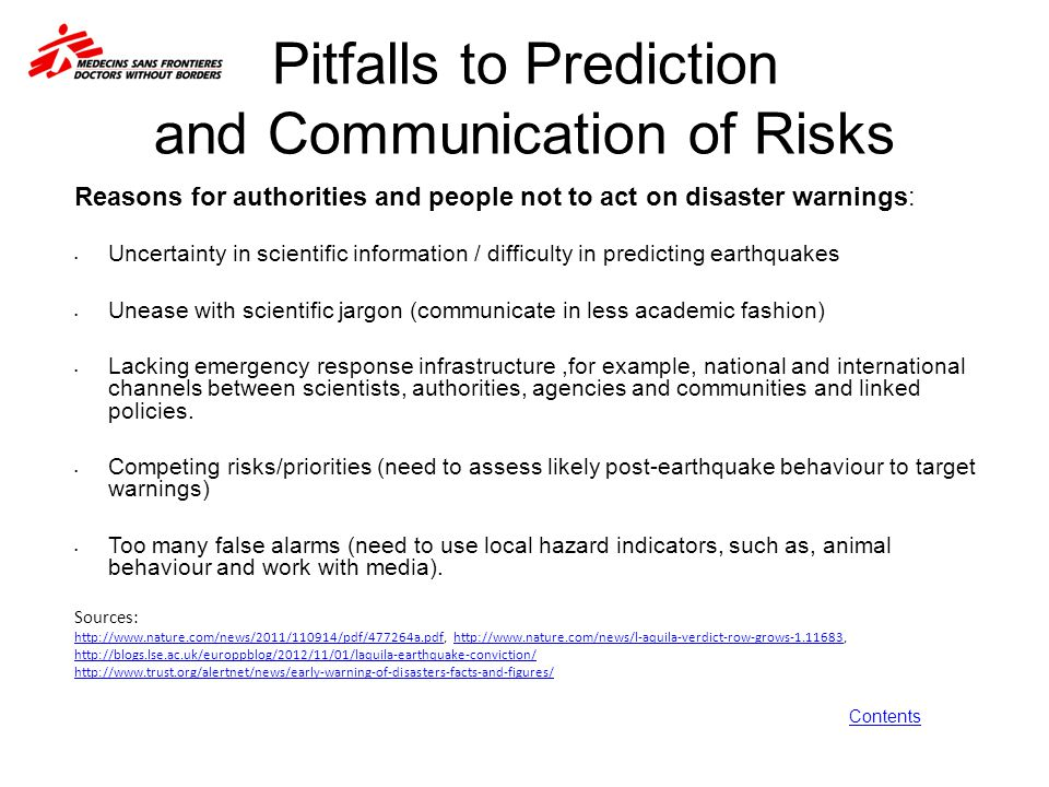 Pitfalls to Prediction and Communication of Risks