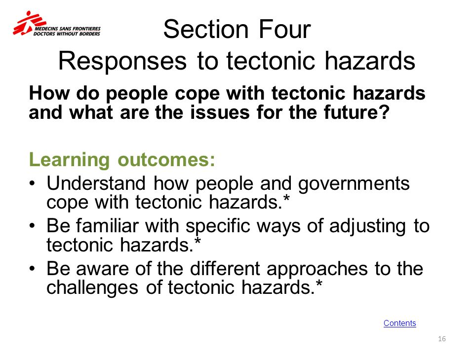 Section Four Responses to tectonic hazards