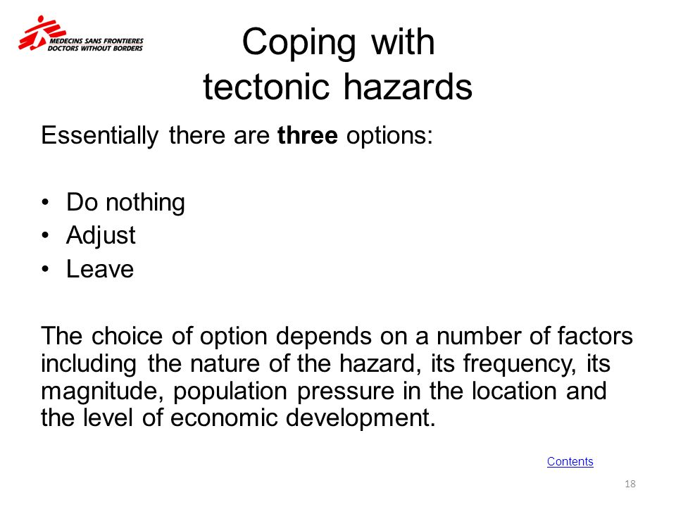 Coping with tectonic hazards