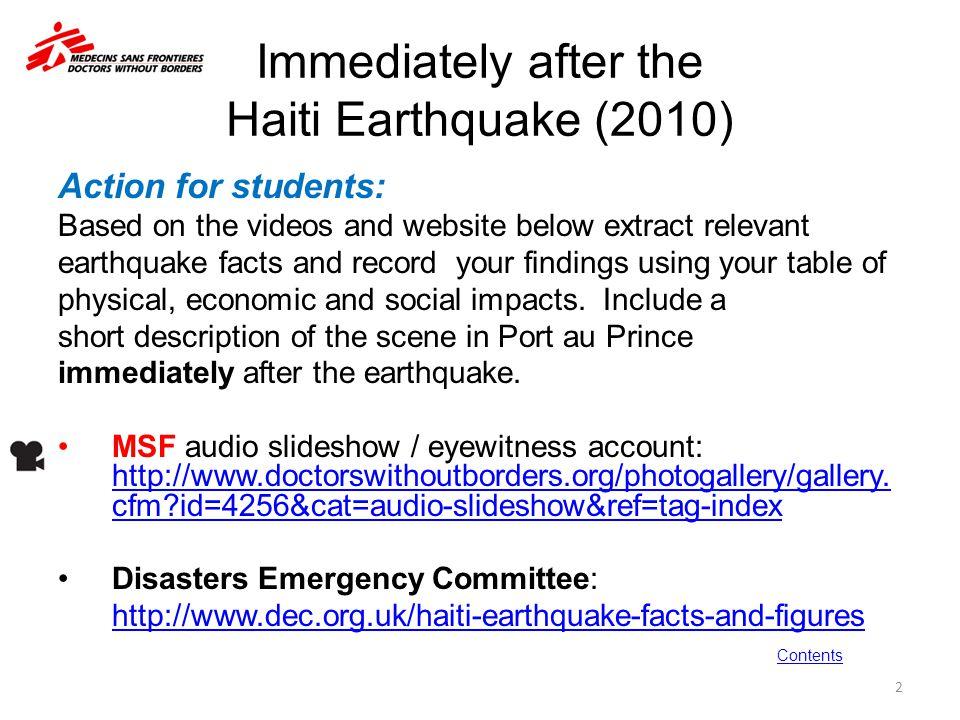 Immediately after the Haiti Earthquake (2010)