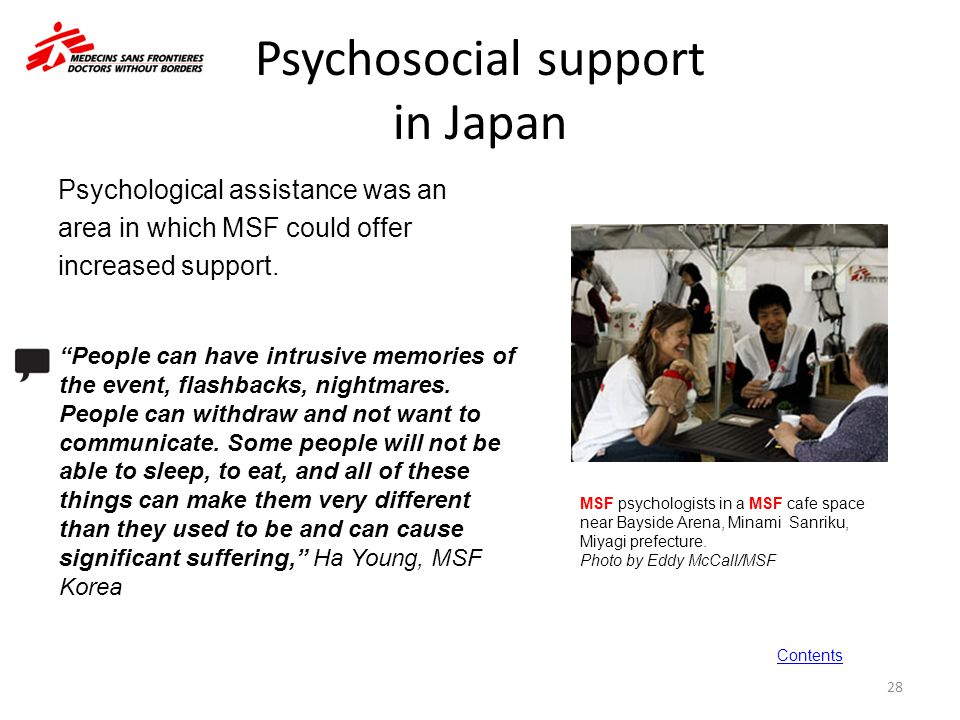 Psychosocial support in Japan