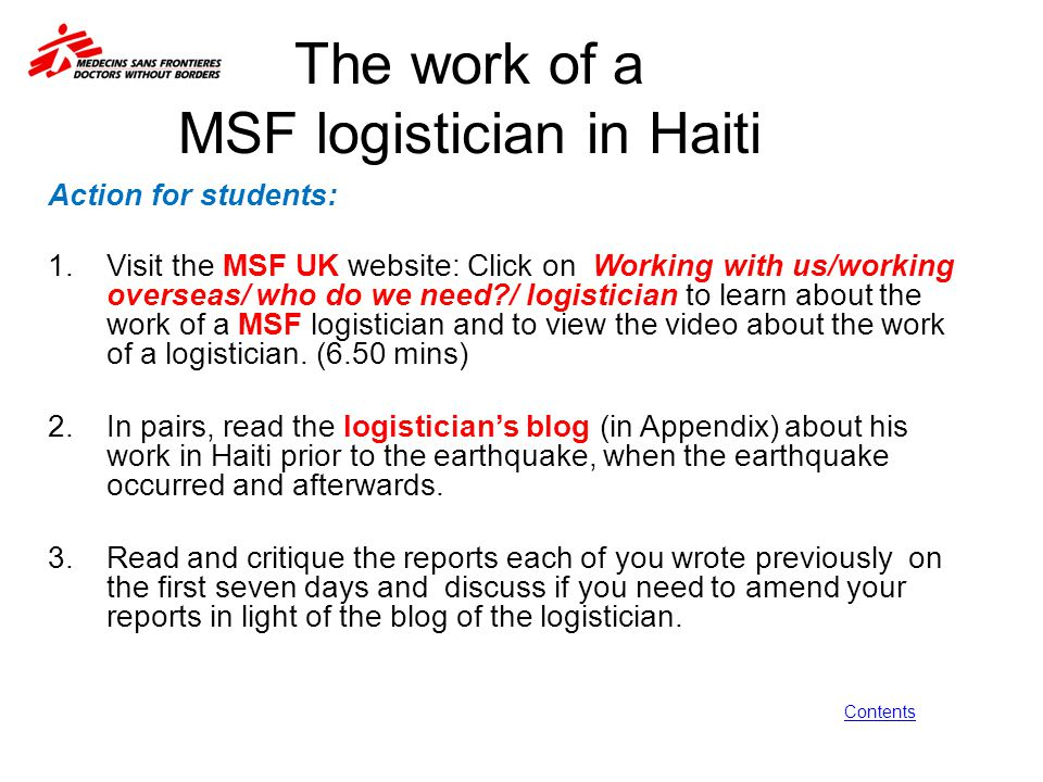 The work of a MSF logistician in Haiti