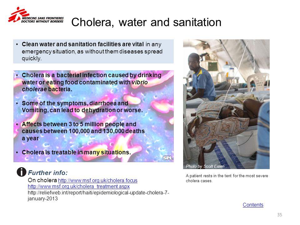 Cholera, water and sanitation