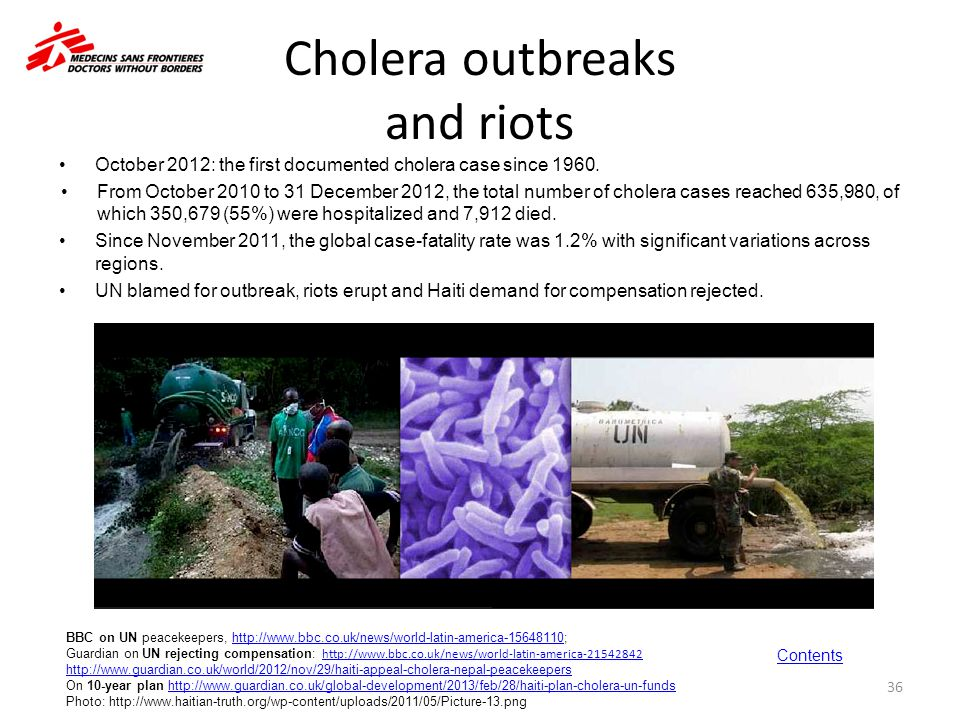Cholera outbreaks and riots