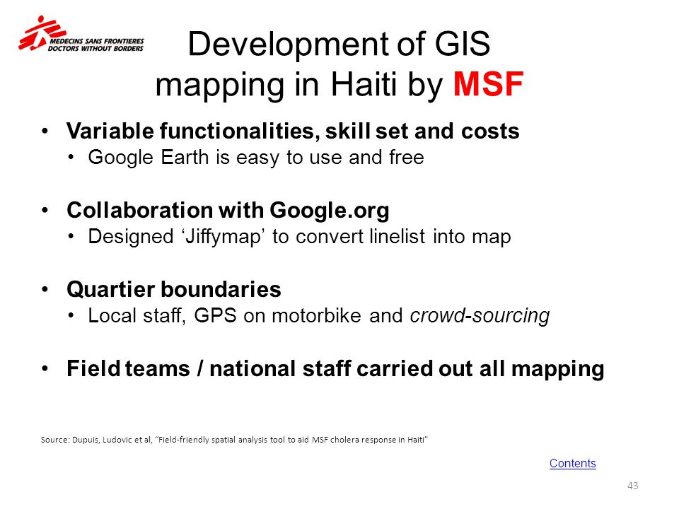 Development of GIS mapping in Haiti by MSF