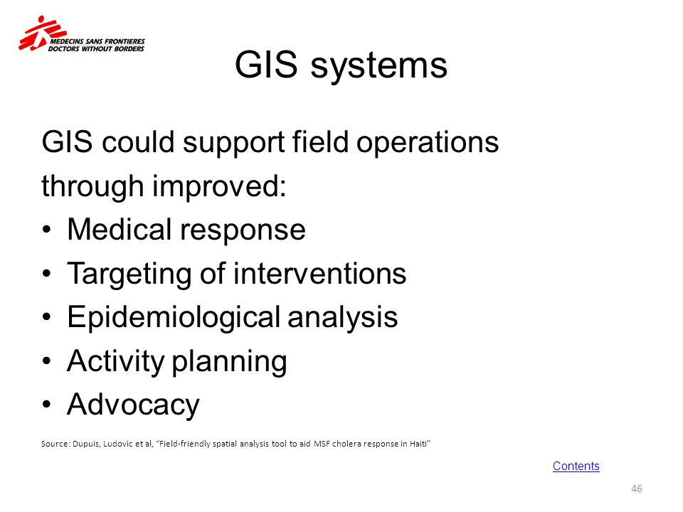 GIS systems GIS could support field operations through improved: