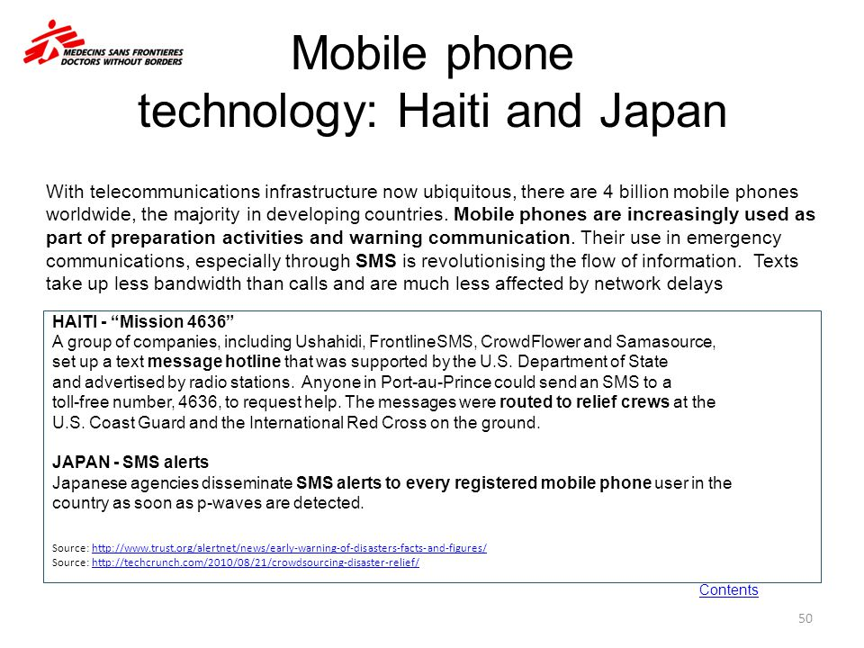 Mobile phone technology: Haiti and Japan