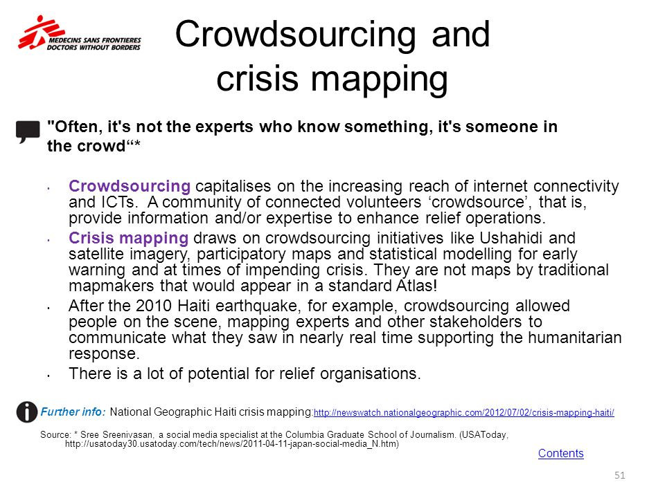 Crowdsourcing and crisis mapping