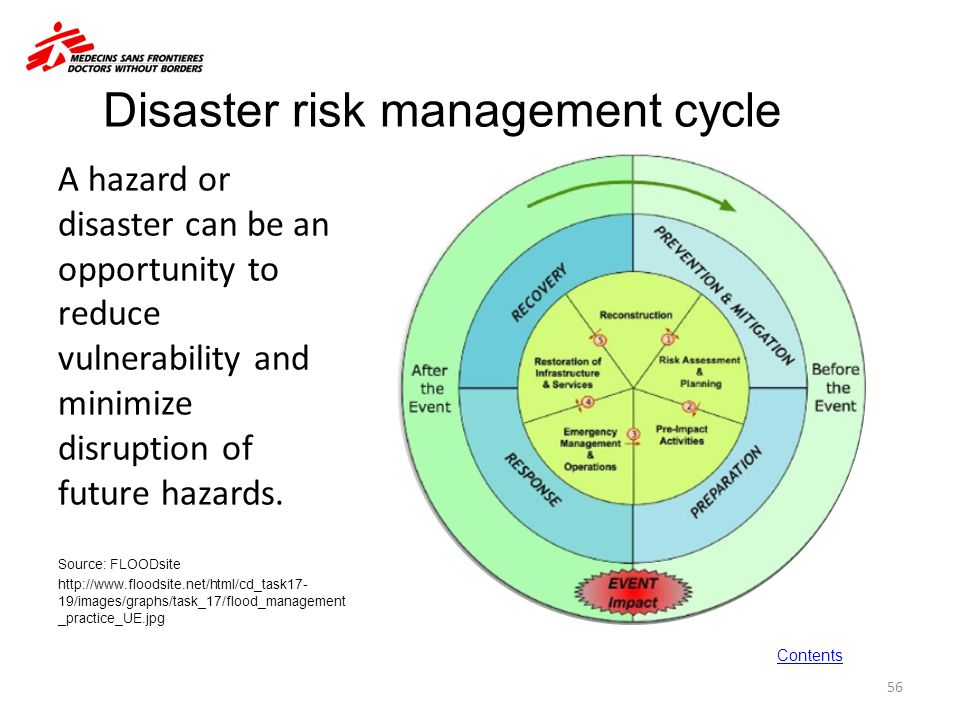 disaster cycle Key elements of disaster/emergency planning preparedness, response, recovery & prevention/mitigation disaster/emergency planning for records and information should be a planned approach for the prevention of records and information loss, preparedness and response to the emergency events affecting records and information, recovery of.