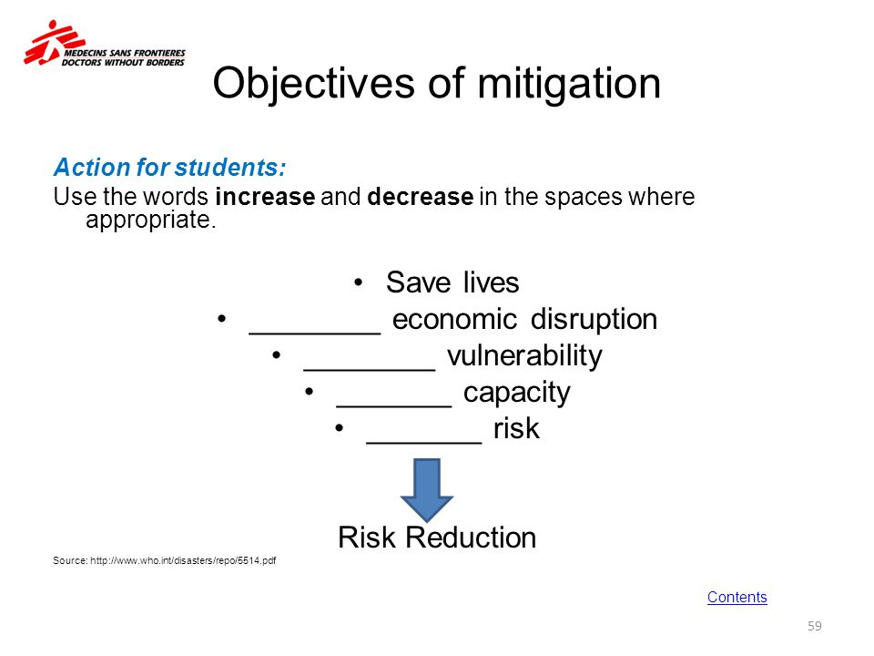 Objectives of mitigation