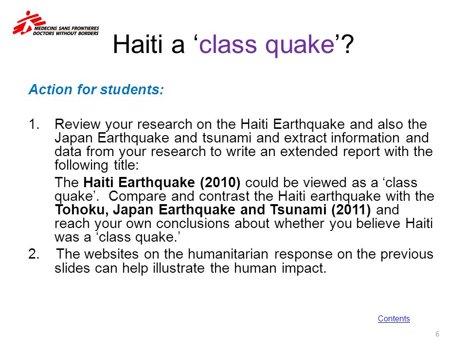 Haiti a 'class quake' Action for students:
