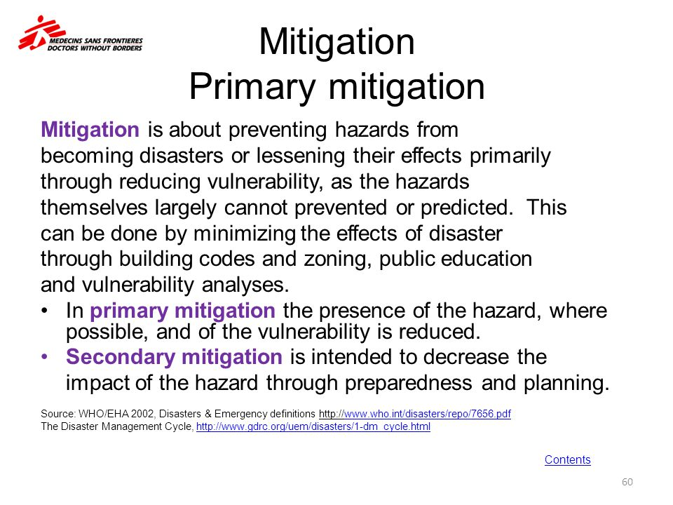 Mitigation Primary mitigation