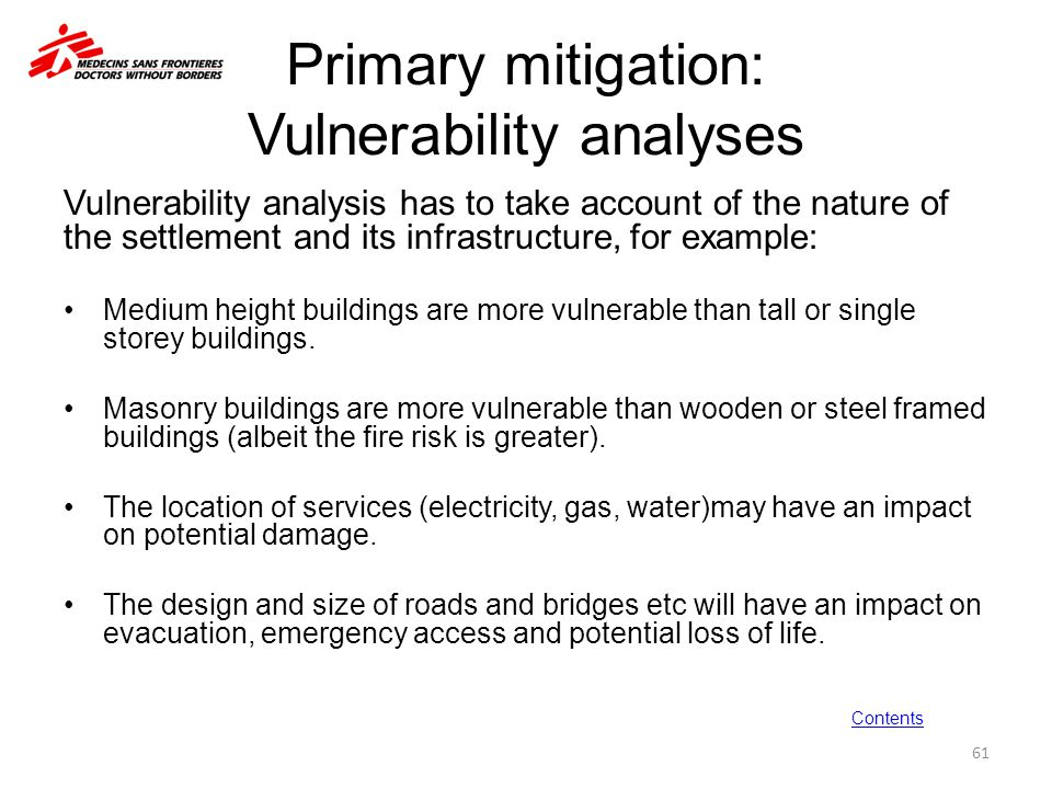 Primary mitigation: Vulnerability analyses