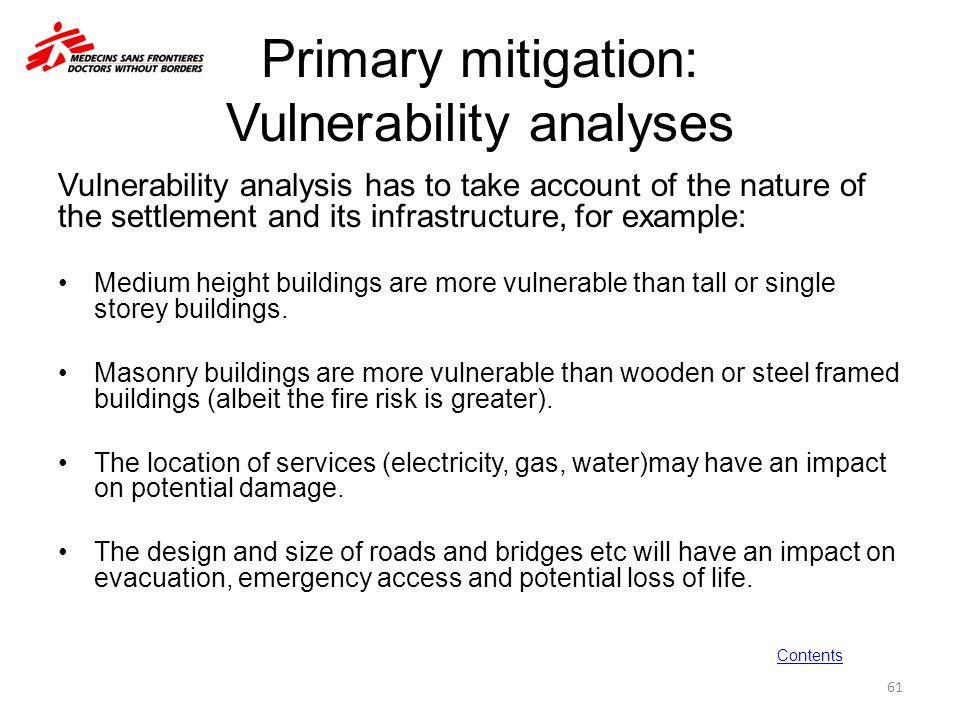 Primary mitigation: Vulnerability analyses