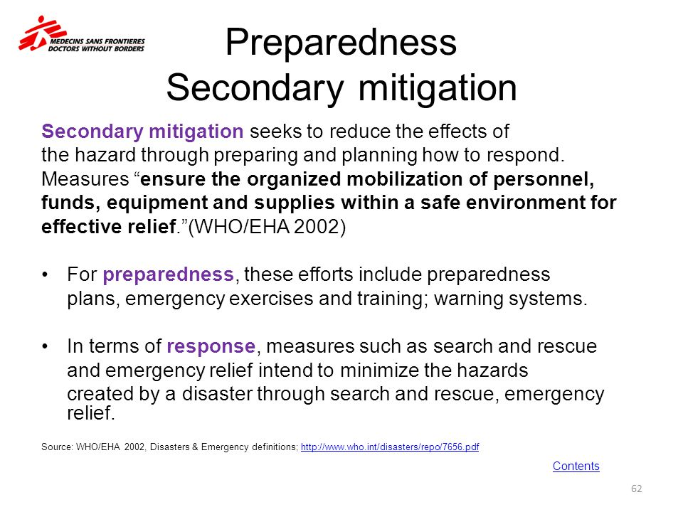 Preparedness Secondary mitigation