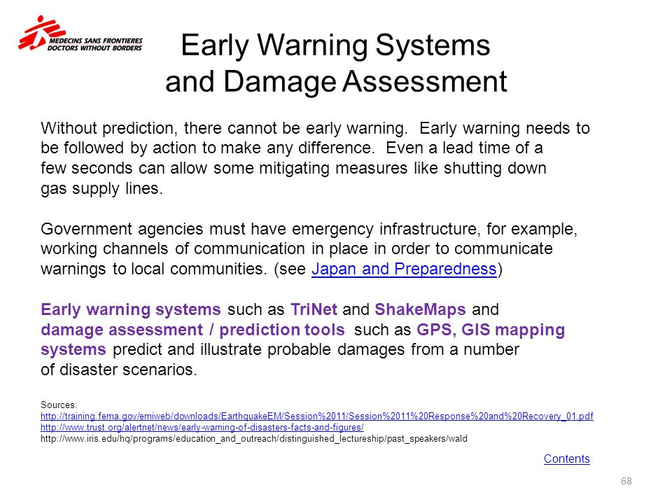 Early Warning Systems and Damage Assessment