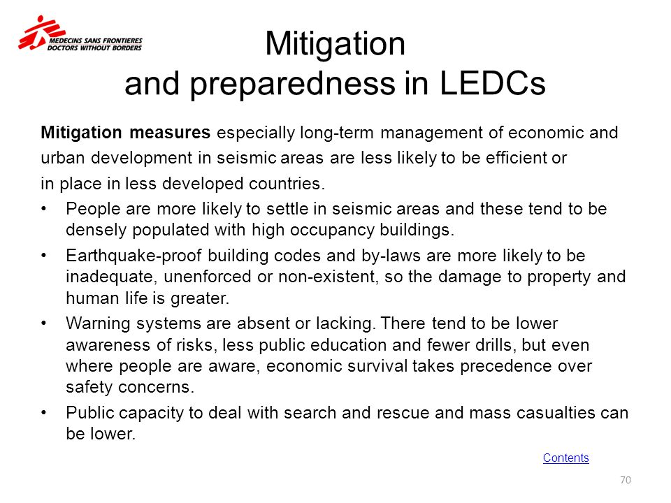 Mitigation and preparedness in LEDCs