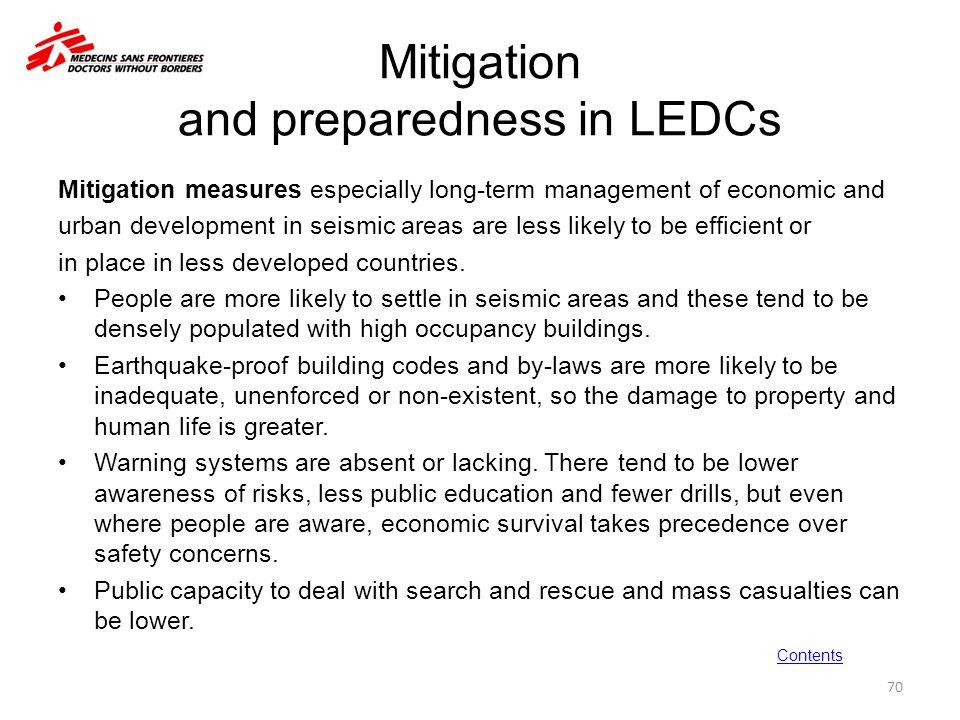 Mitigation and preparedness in LEDCs