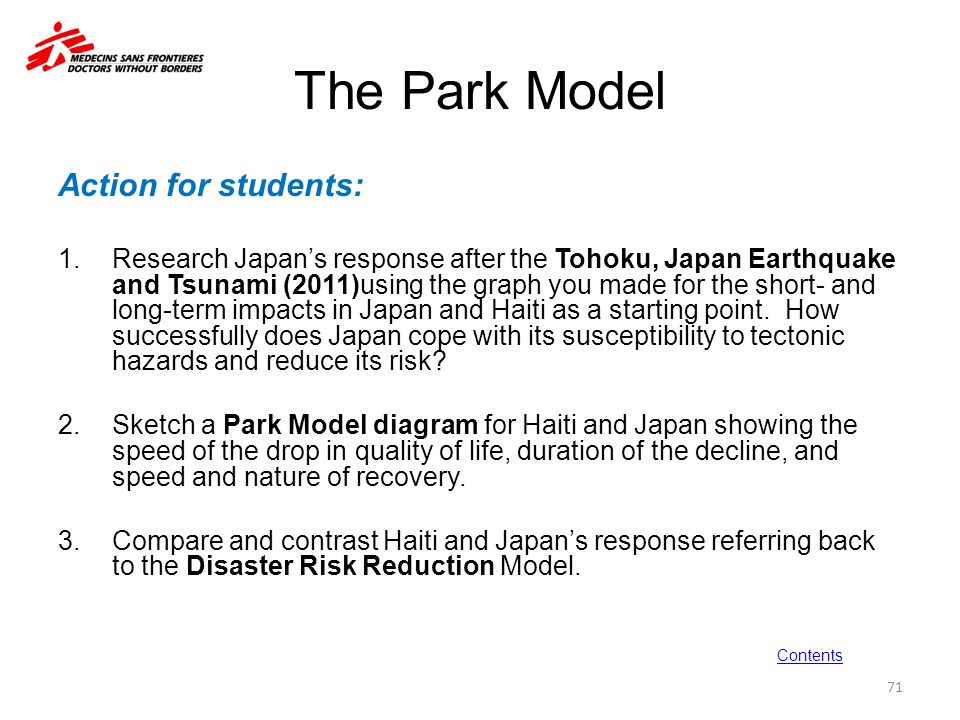 The Park Model Action for students: