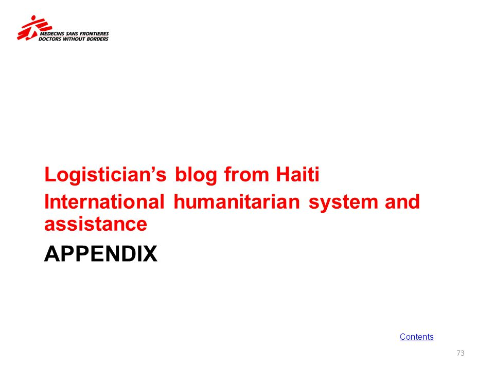 Appendix Logistician's blog from Haiti
