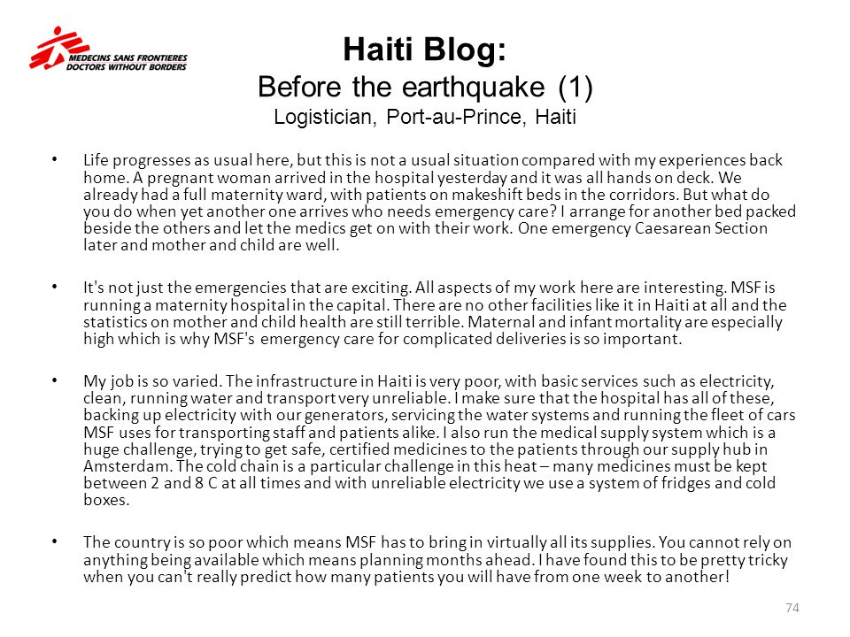 Haiti Blog: Before the earthquake (1) Logistician, Port-au-Prince, Haiti