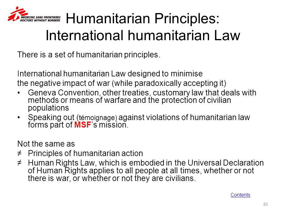 Humanitarian Principles: International humanitarian Law