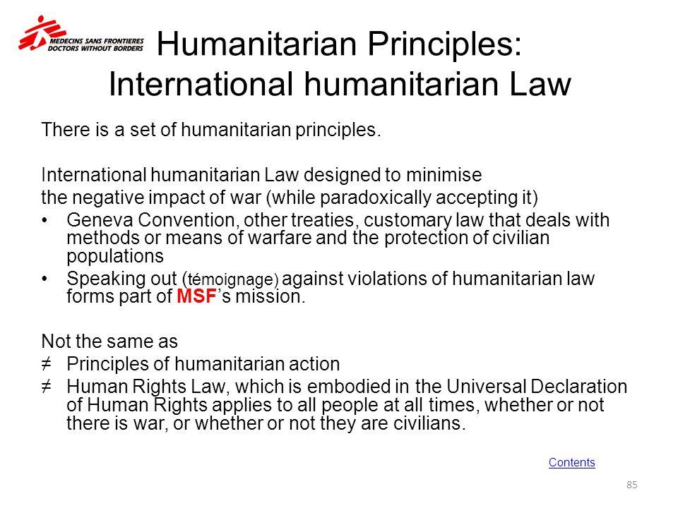Humanitarian Principles: International humanitarian Law