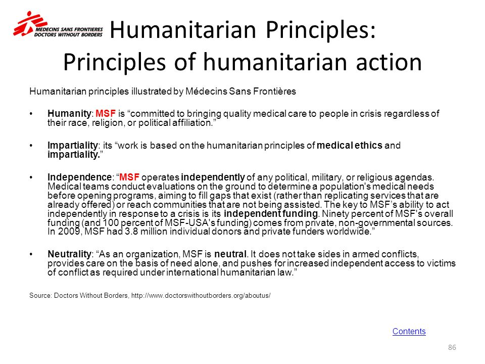 Humanitarian Principles: Principles of humanitarian action