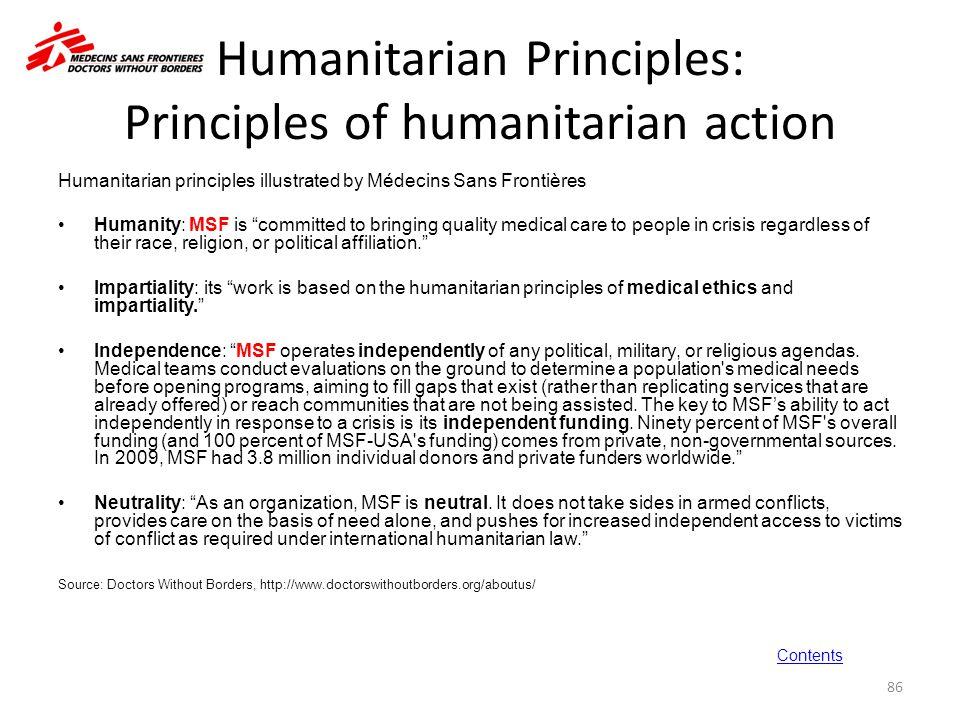 Humanitarian Principles: Principles of humanitarian action