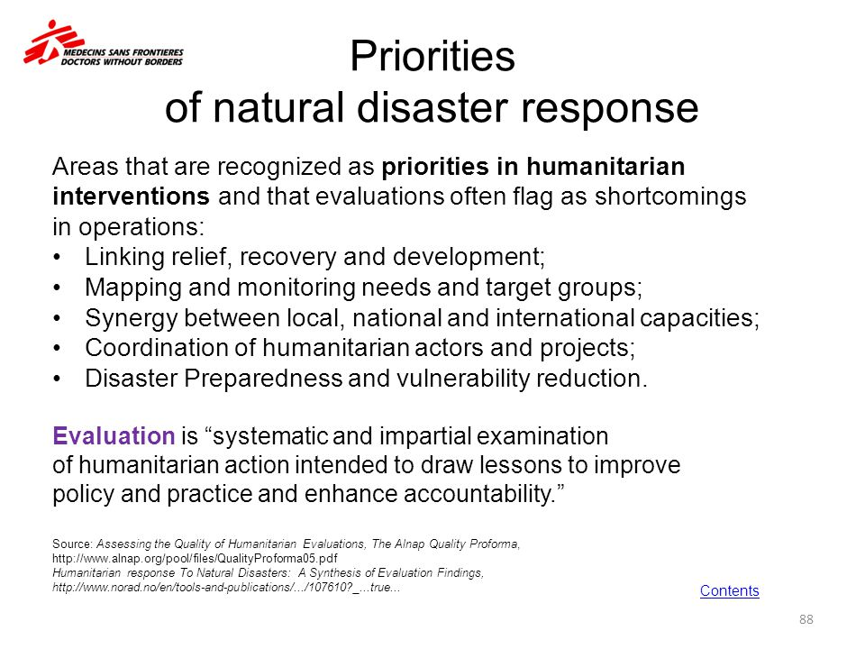 Priorities of natural disaster response