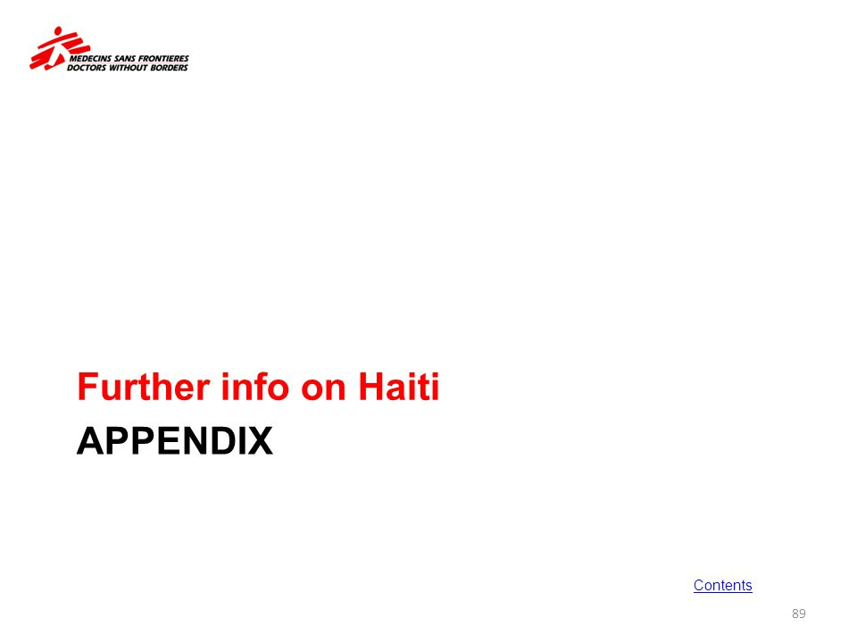 Further info on Haiti Appendix Contents