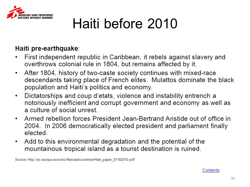 Haiti before 2010 Haiti pre-earthquake: