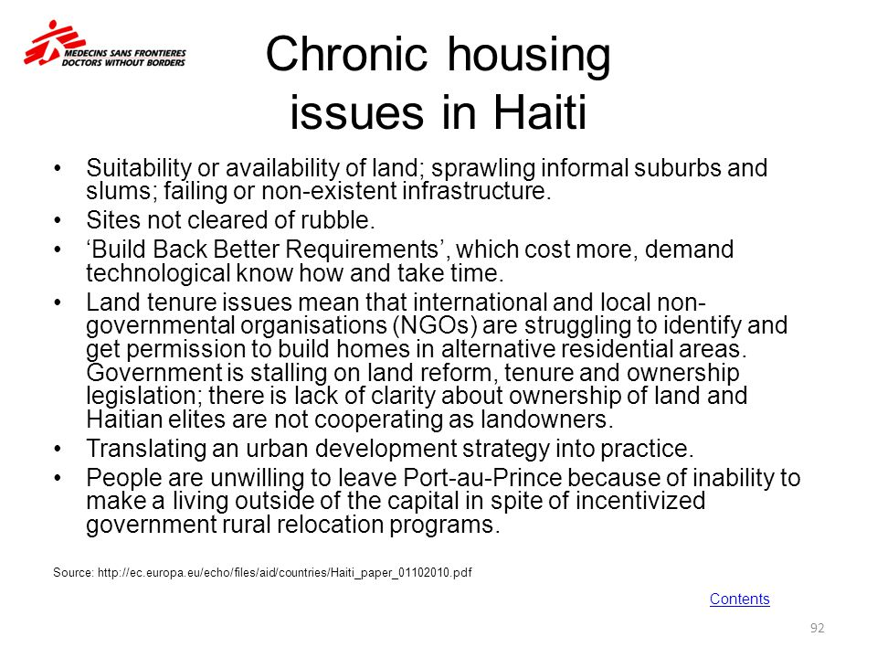 Chronic housing issues in Haiti