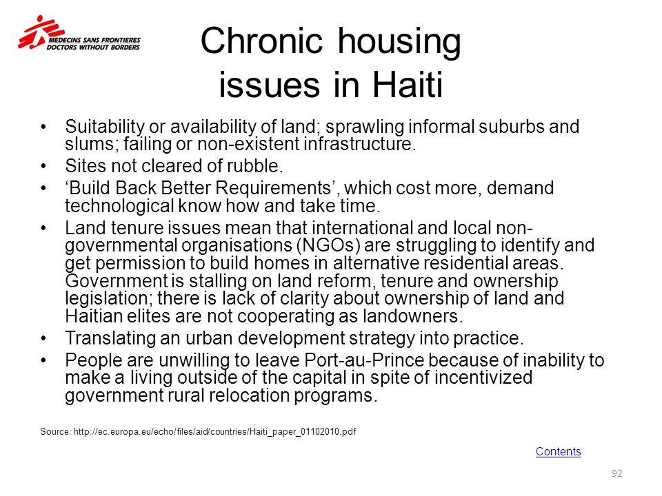 Chronic housing issues in Haiti