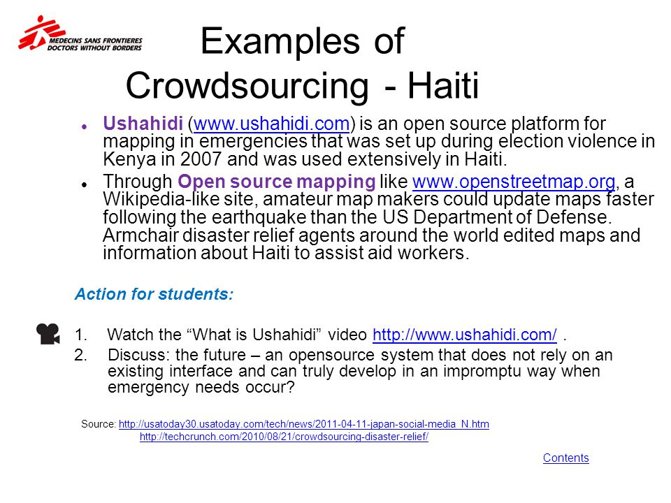 Examples of Crowdsourcing - Haiti