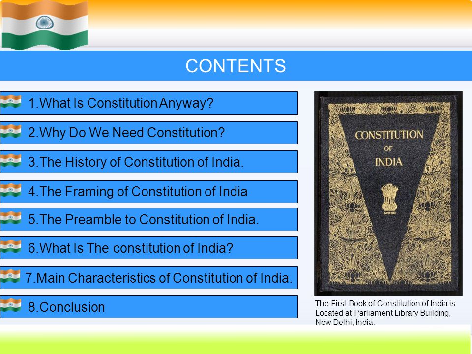 CONTENTS 1.What Is Constitution Anyway 2.Why Do We Need Constitution