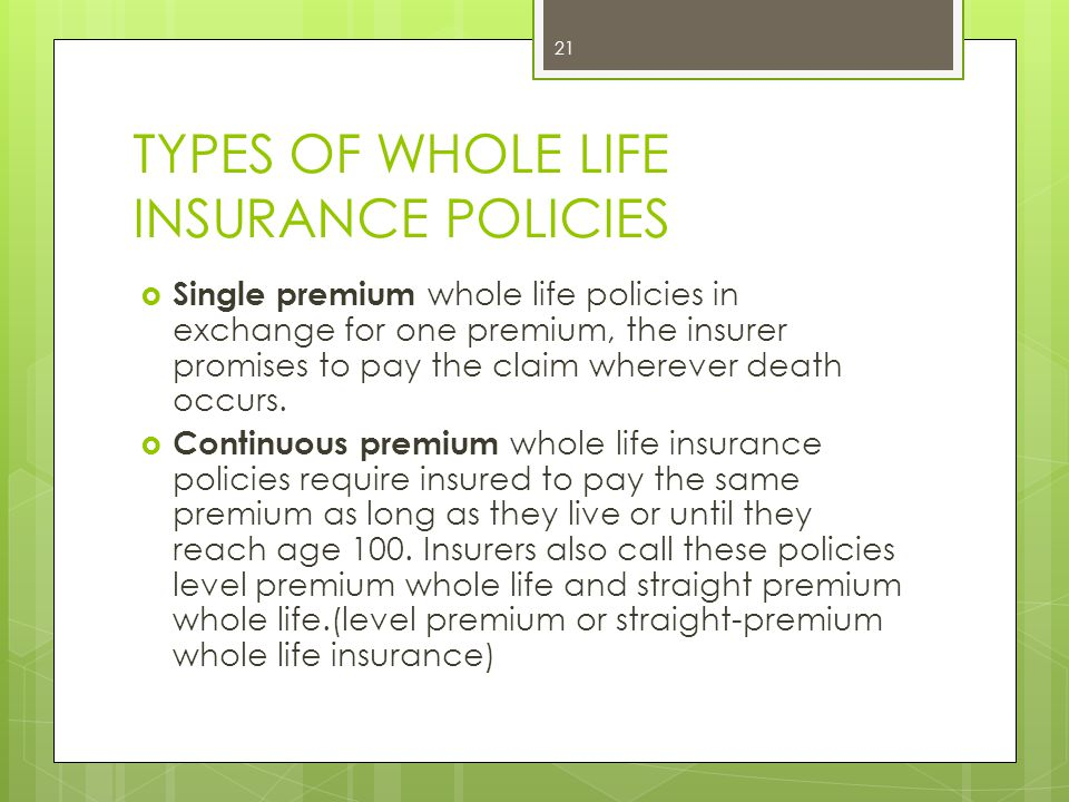 TYPES OF WHOLE LIFE INSURANCE POLICIES