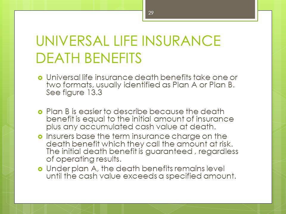 UNIVERSAL LIFE INSURANCE DEATH BENEFITS
