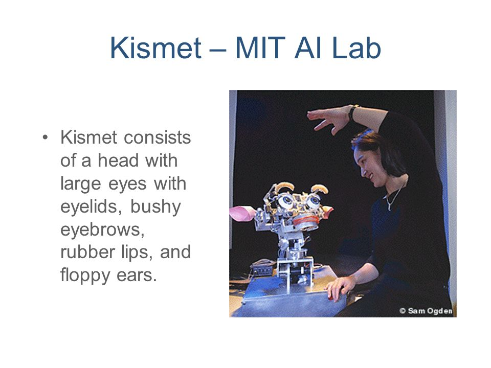 Kismet – MIT AI Lab Kismet consists of a head with large eyes with eyelids, bushy eyebrows, rubber lips, and floppy ears.
