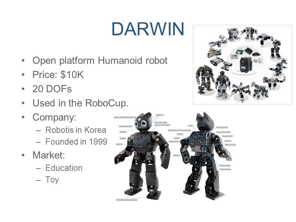 DARWIN Open platform Humanoid robot Price: $10K 20 DOFs