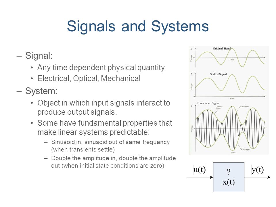 Signals and Systems Signal: System: