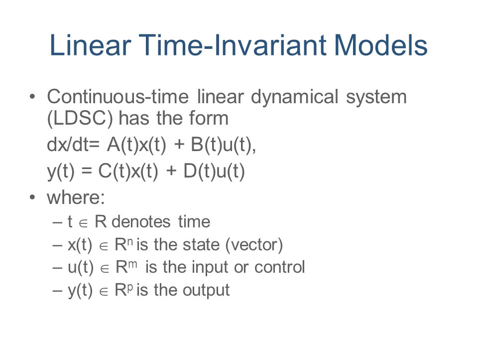 Linear Time-Invariant Models