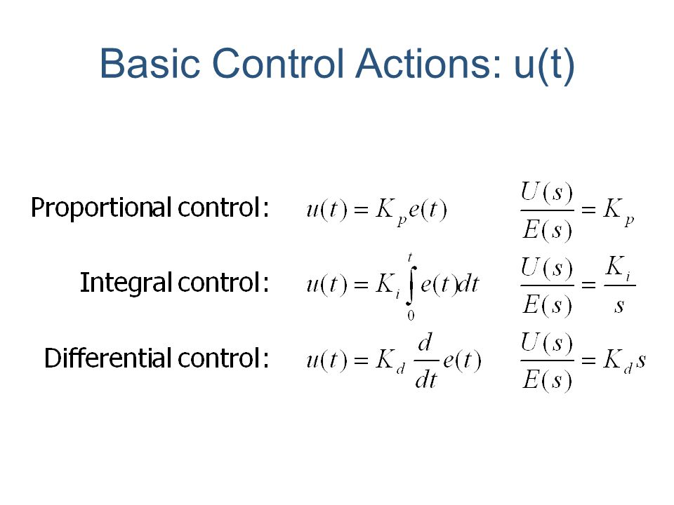 Basic Control Actions: u(t)
