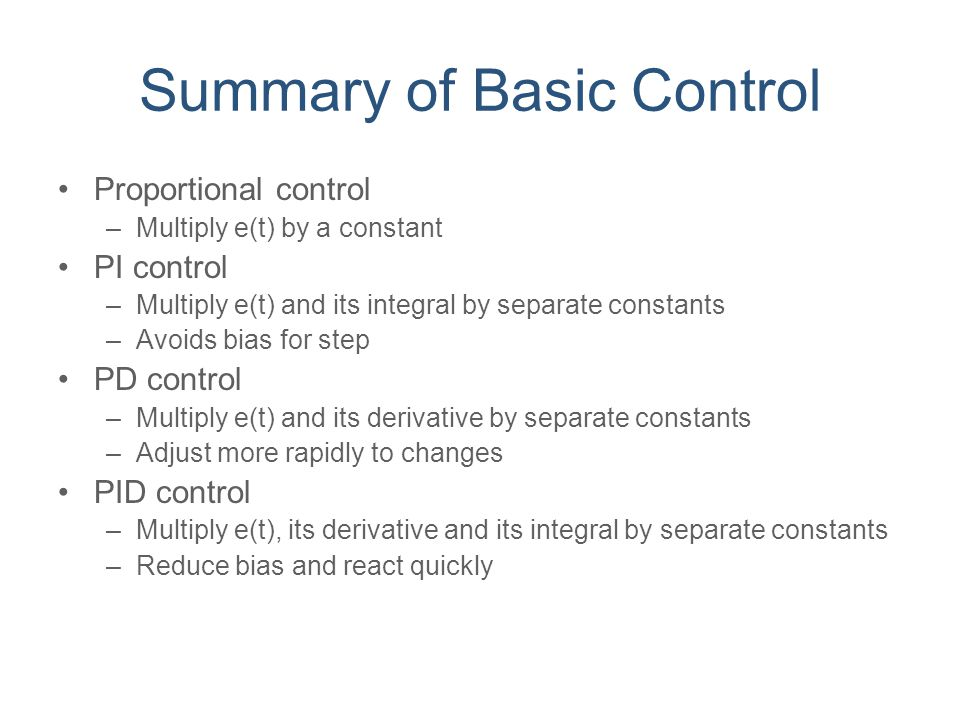 Summary of Basic Control
